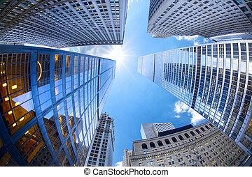 Lower Manhattan skyscrapers looking up, New York City