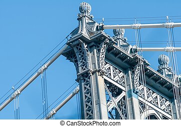 new york city manhattan bridge and skyline