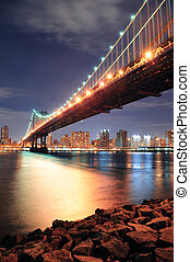 New York City Manhattan Bridge closeup with downtown skyline...