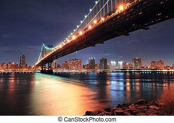 New York City Manhattan Bridge closeup with downtown skyline...