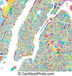 New York City Manhattan Colorful Map