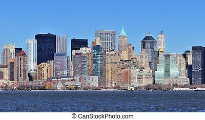 New York City Manhattan downtown panorama