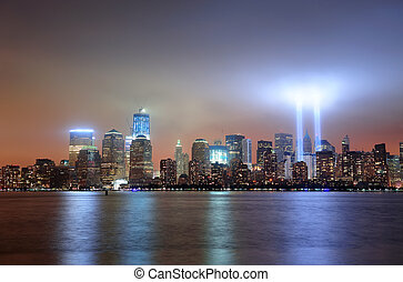 New York City Manhattan downtown skyline at night from...