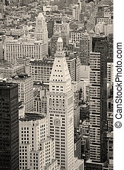 New York City Manhattan downtown skyline black and white