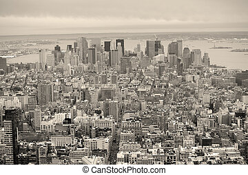 New York City Manhattan downtown skyline black and white