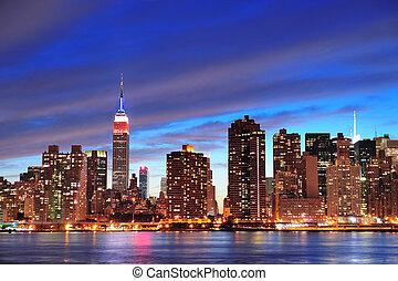 New York City Manhattan midtown at dusk