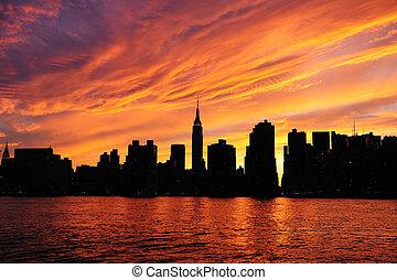 New York City Manhattan midtown silhouette panorama at...