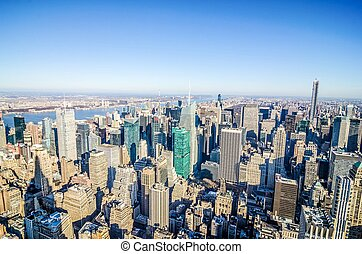 new york city manhattan skyline aerial