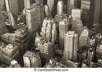 New York City Manhattan skyline aerial view black and white