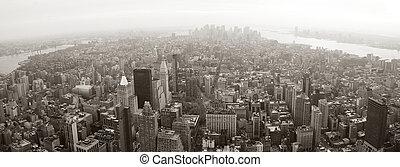 New York City Manhattan skyline aerial view panorama
