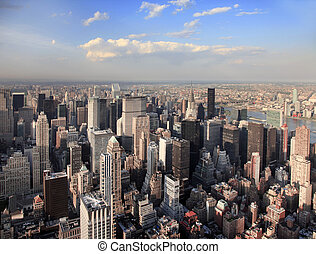 New York City Manhattan skyline aerial view with Empire State and skyscrapers