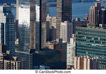New York City Manhattan skyline aerial view with glass and modern skyscrapers