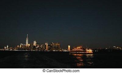 New York City Manhattan Skyline at night from Staten island...