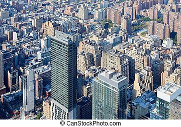 new york city, manhattan skyline, luftblick, mit, wolkenkratzer