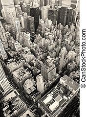 new york city, manhattan skyline, luftblick, schwarz weiß