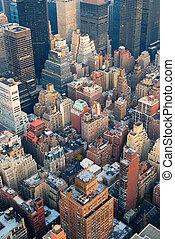 new york city, manhattan skyline, luftblick