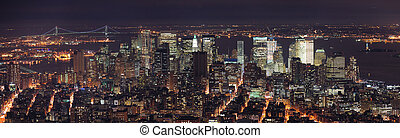 New York City Manhattan skyline panorama aerial view at dusk