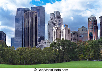 New York City Manhattan skyline panorama viewed from Central Par