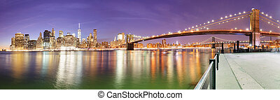 New York City Manhattan skyline panorama with Brooklyn Bridge