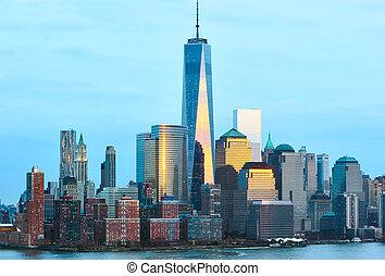 New York City Manhattan skyline with One World Trade Center...