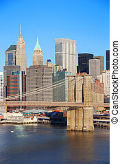 New York City Manhattan skyline with Brooklyn Bridge