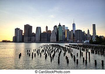 new york city, manhattan, stadtzentrum, an, dämmerung