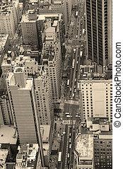 new york city, manhattan, straße, luftblick, schwarz weiß