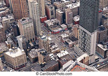 new york city, manhattan, straße, luftblick