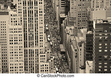 New York City Manhattan street aerial view black and white