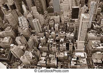 New York City Manhattan street aerial view black and white...