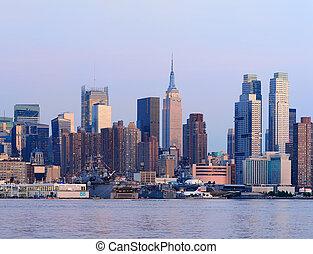 New York City Manhattan sunset panorama