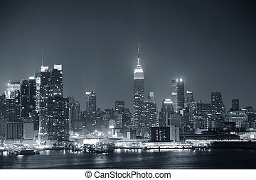 new york city, manhattan, svartvitt
