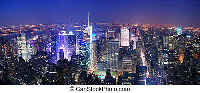New York City Manhattan Times Square skyline aerial view...
