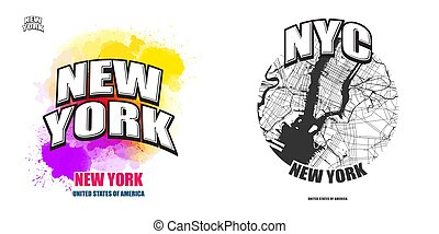 New York City, New York, two logo artworks