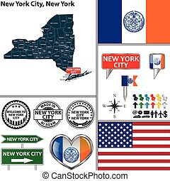 New York City, New York - Vector set of New York City New...