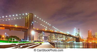 New York City night panorama with Brooklyn Bridge