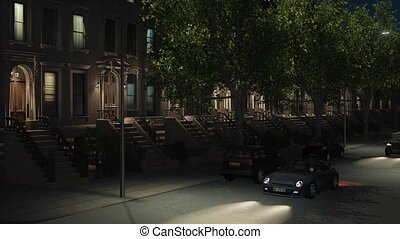 New York City night street with brownstones 4K - New York...