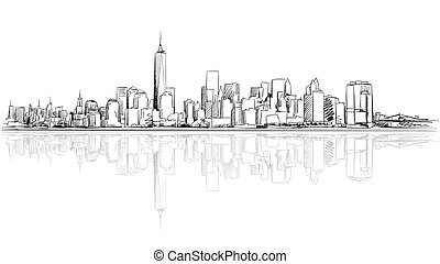 New York City Outline Sketch with Refection, Hand Drawn...