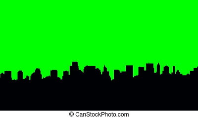 New York City Pan - Long pan of a skyline silhouette of the...