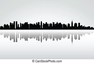 New York City panorama, vector