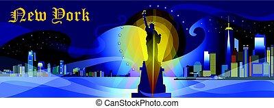 New York-city silhouette in night