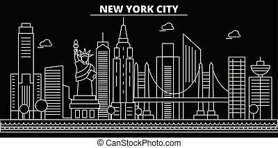 New York City silhouette skyline. USA - New York City vector, american linear architecture, buildings. New York City travel illustration, outline landmarks. USA flat icons, american line banner
