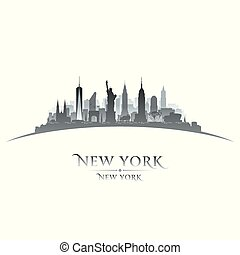 New York city silhouette white background
