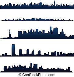 New york city silhouettes and skylines