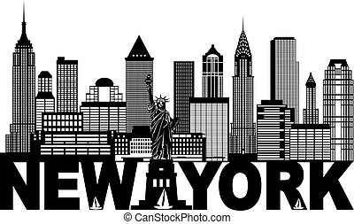 New York City Skyline and Text Black and White Illustration...