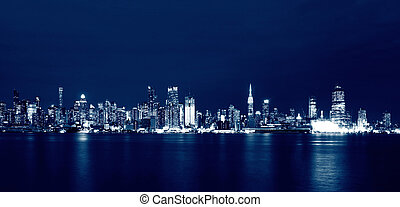 New York City Skyline at night, USA