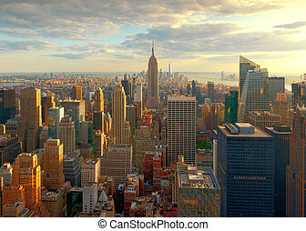New York City Skyline at Sunset, USA
