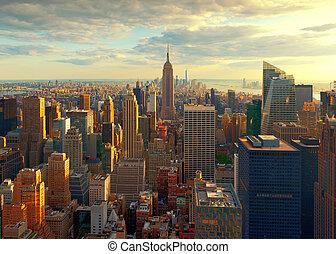 New York City Skyline at Sunset, USA