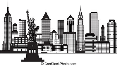 New York City Skyline with Statue of Liberty Black and White Outline Illustration