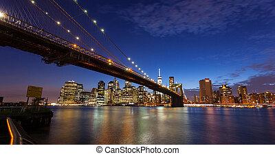 New york city skyline by night